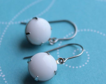 White Vintage Glass Earrings - Silver - Surgical Steel Earwires