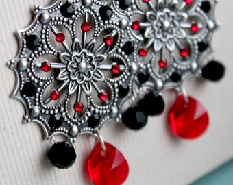 Mia Earrings - Silver - Swarovski Crystal - Red & Black