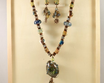 Teal, Blue and Copper Glass Bead Necklace