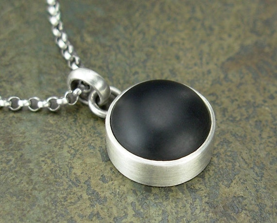 Onyx Necklace - Small Black Onyx Pendant on Chain