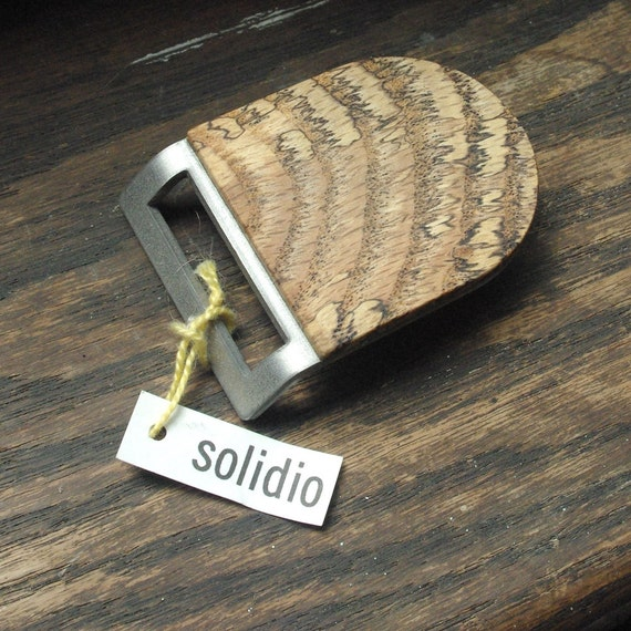 Spalted Oak and Stainless Steel Belt Buckle w/ Handmade Leather Belt