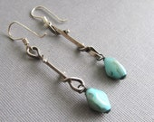 Oxidized Antiqued Silver Twisted Metal Link and Sea Marble Glass Earrings