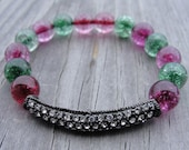 Black Gunmetal Crystal Bar with Pink and Green Glass Beads Bracelet