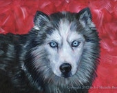 Husky (Wolf, Dog), Art Print of Acrylic Painting on Red Background