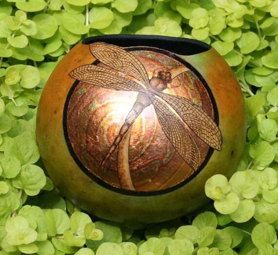 Dragonfly and Gold Leaf gourd mini bowl