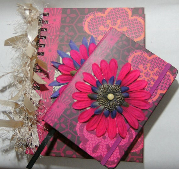 Journal Small and Large Book Set Spiral Blank Lined Floral with ribbon