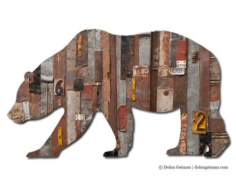 In the Woods California Bear Metal Wall Art