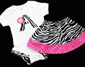 Boutique...INITIAL..ZEBRA Polka dots... Ruffle legged Bodysuit and skirt Set