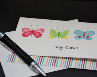 Butterfly Trio, personalized custom note cards, set of 6 greeting cards