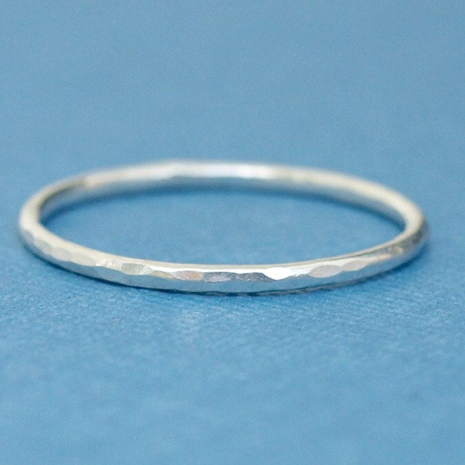 sterling silver ring simple ring hammered silver ring