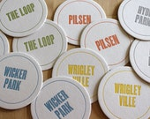 CHICAGO Letterpress Neighborhood Coasters (Pack of 10)