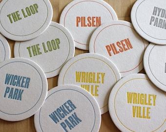 CHICAGO Letterpress Neighborhood Coasters (Pack of 10)