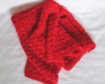 Red Afghan, Baby Wrap or Lap Blanket Handknitted in Holiday Red, CrissCross