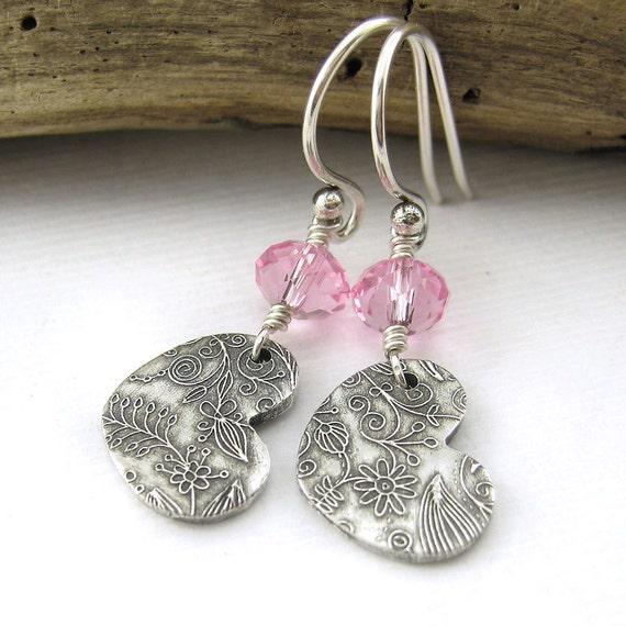 Baby Pink Crystal Earrings, Silver Heart, Fashion Jewelry, Pastel Modern Handmade Jewelry