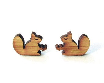 Little Squirrels. Squirrel Earrings. Wood Earrings. Stud Earrings. Laser Cut Earrings. Bamboo Earrings. Gifts For Her. Gift For Women.  Cute
