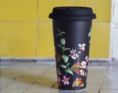 ready to ship - Black Ceramic Eco-Friendly Coffee Mug - Wild Flowers - Limited Edition - yevgenia