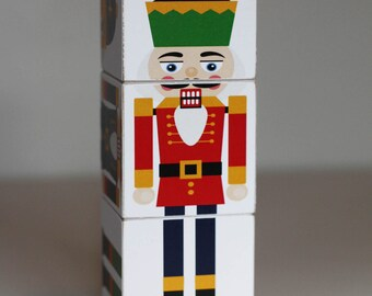 Nutcracker Wood Blocks Set of 3 Large 2 inch blocks Christmas Decor