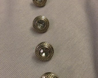 Silver Rhinestone Buttons 20 Count