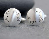 THE POINT Cuff links, Cufflinks, Men, name, initials, hand stamped,Latitude,Longitude,Sterling Silver,Location, customized, coordinates