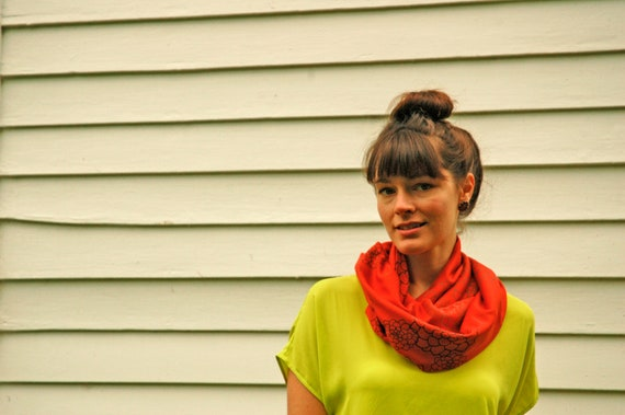 Vermillion Jersey Infinity Scarf with Rosetta Print