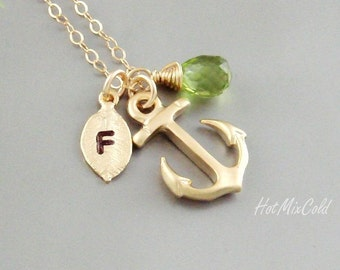 Monogram Anchor Necklace, Initial Birthstone charm Necklace, Monogram Leaf Jewelry, Nautical Wedding Theme, Anchor bridesmaid gifts