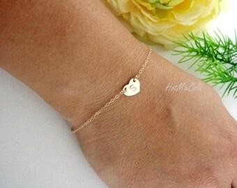Personalized Initial Bracelet / Monogram Bridesmaid Jewelry / Silver Rose Gold Charm Bracelet, Mothers Custom Bracelet, Couple Heart Jewelry