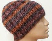 Ribbed beanie hat, rust, taupe, brown, indigo, navy blue, striped hat, skull cap, chemo cap, women's hat, men's hat, knit beanie hat, cap