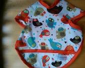 Retro Owl Toddler Bib with Snaps