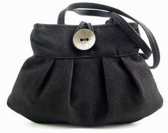 black handbag, shoulder bag, black purse, fabric handbag, pleated bag, small tote bag, fabric purse