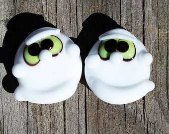 Made to order Margo lampwork beads halloween ghost earring pair (2)