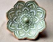 Ceramic Lotus Ring Holder Bowl Sage green