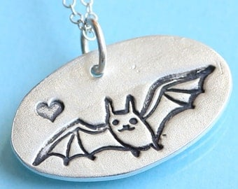 BAT LOVE necklace, with bat and HEART, eco-friendly silver, illustration by Boygirlparty. Handcrafted by Chocolate and Steel