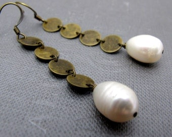 Bridal Brass Pearl Drops Earrings // Small Brass Round Coins // White Freshwater Pearls // Gift under 25