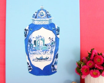 BLUE WORCESTER JAR on stretched canvas