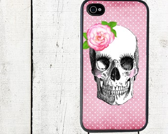 Pink Skeleton Skull Phone Case Day of the Deadfor iPhone 4 4s 5 5s 5c SE 6 6s 7  6 6s 7 Plus Galaxy s4 s5 s6 s7 Edge