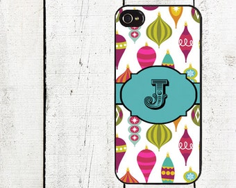 Personalized Retro Christmas Ornament iPhone Case - Monogram Cell Phone Case - iPhone 4, 4s,  iPhone 5 Case