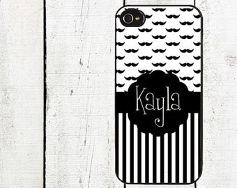 iphone 6 case Mustache & Stripes Monogram Cell Phone Case - Personalized Cell Phone Case - Mustache iPhone 5 - iPhone 4,4s - Galaxy s3 s4 s5