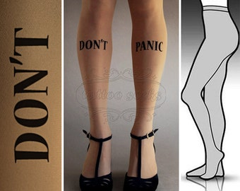 S/M Don't Panic  tattoo tights / stockings / full length / pantyhose / nylons Cafe Latte