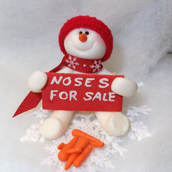 Snowman ornament with noses for sale by peggers on etsy