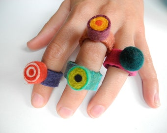 Felted Candy Ring . Orange and Peach