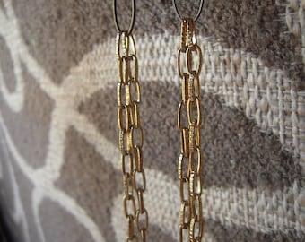 Earrings: Long Chain Repurposed Vintage Chain Earrings in Black