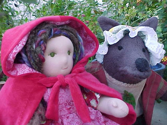 Red Riding Hood and Wolfie,  Custom Waldorf Doll Set