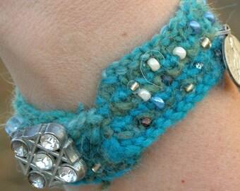 Knit Cuff Bracelet, wool/mohair - St. Philomena