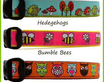Hedgehog Dog Collar, Pink Bumble Bee Dog Collars, Funky Owl Dog Collars, Nature Dog Collar, Outdoor Dog Collars