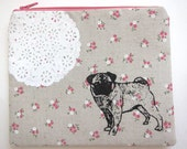 Pouch  Pug and Lace on Pink Calico Linen