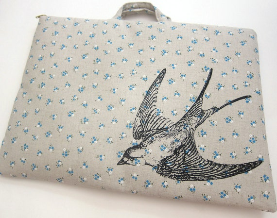 Laptop Bag Bird Swallow on Blue Floral Linen Custom Sizing Available