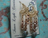 Gold Vermeil earrings with Swarovski crystal and Czech Glass melon beads