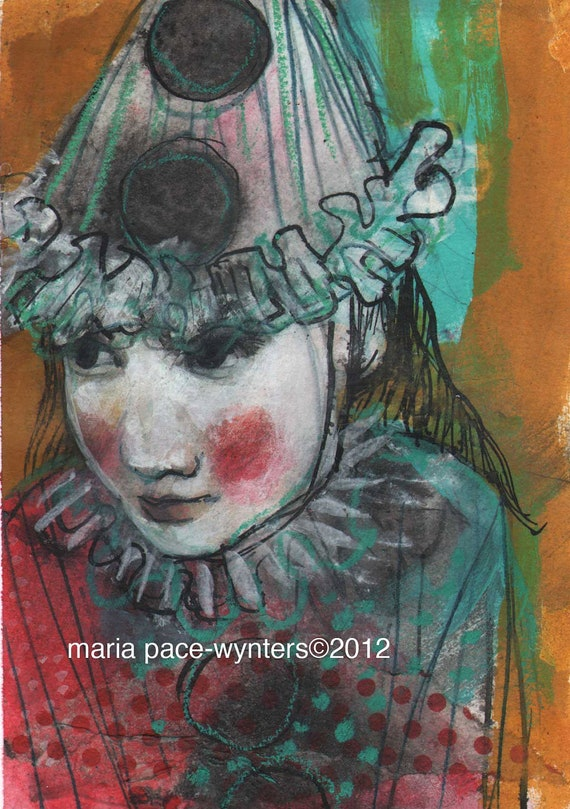 Young Clown- Original mixed media painting by Maria Pace-Wynters