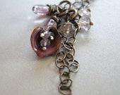 enameled flower necklace,gemstone necklace, drop necklace, dangle necklace, pink necklace