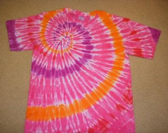 L  tie dye tee shirt, pink swirl, large